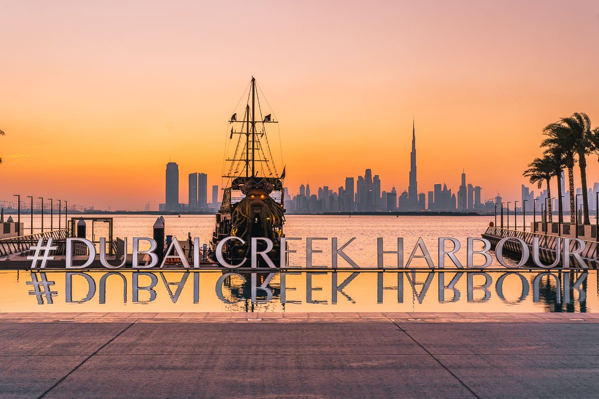 Sunset at the Dubai Creek Harbour with the Dubai skyline in the background