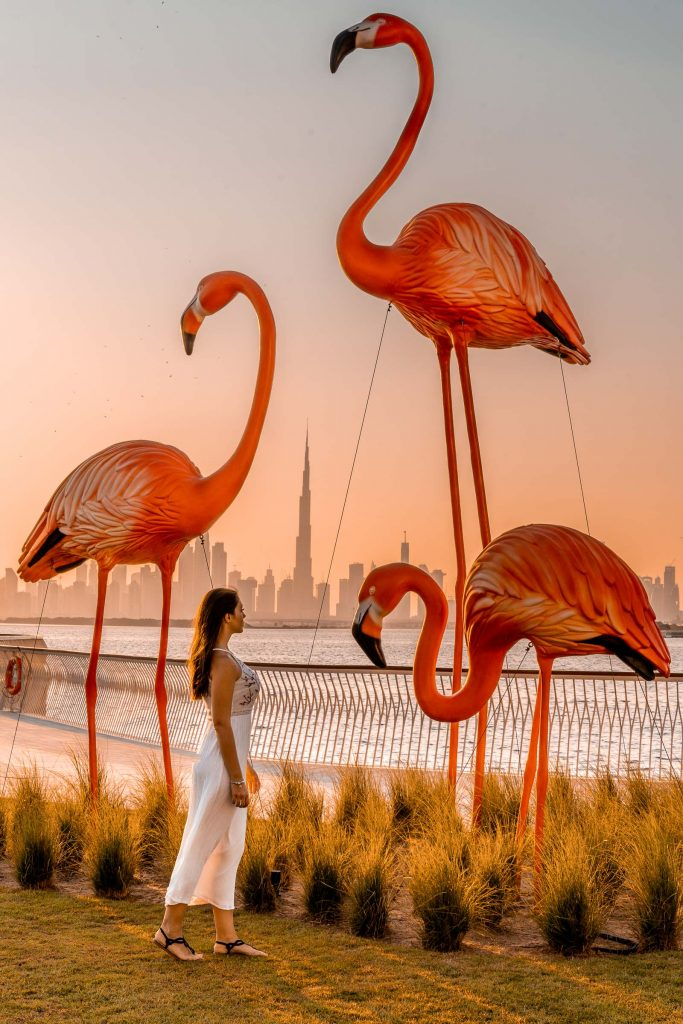 Girl in a white dress standing in front of pink flamingos at the Dubai Creek Harbour at sunset