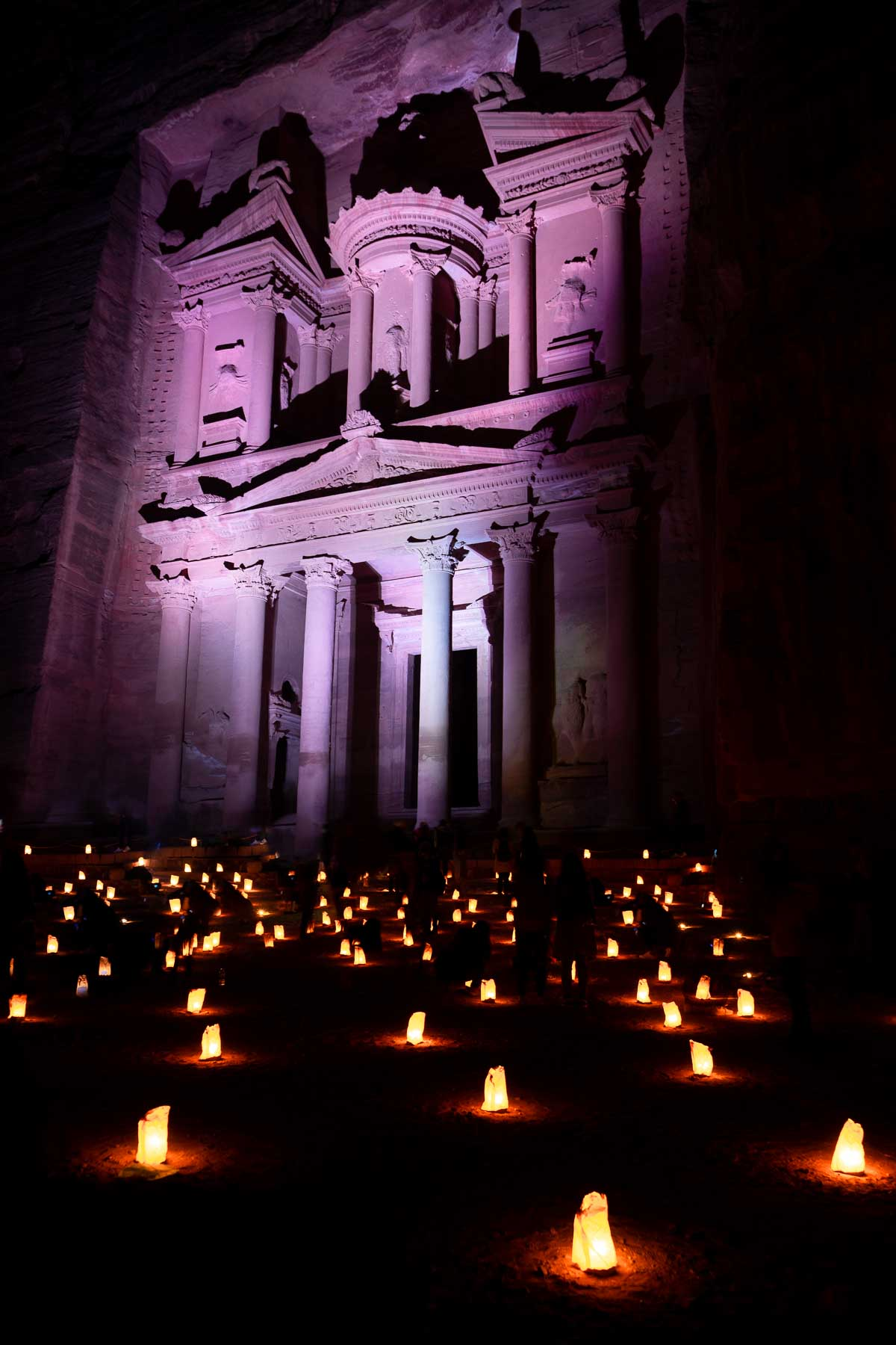 Treasury by night in Petra, Jordan