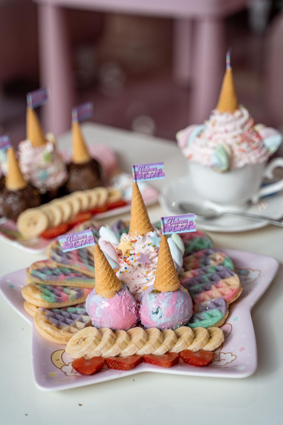 Rainbow waffles and cotton candy milkshake at the Unicorn Cafe in Bangkok
