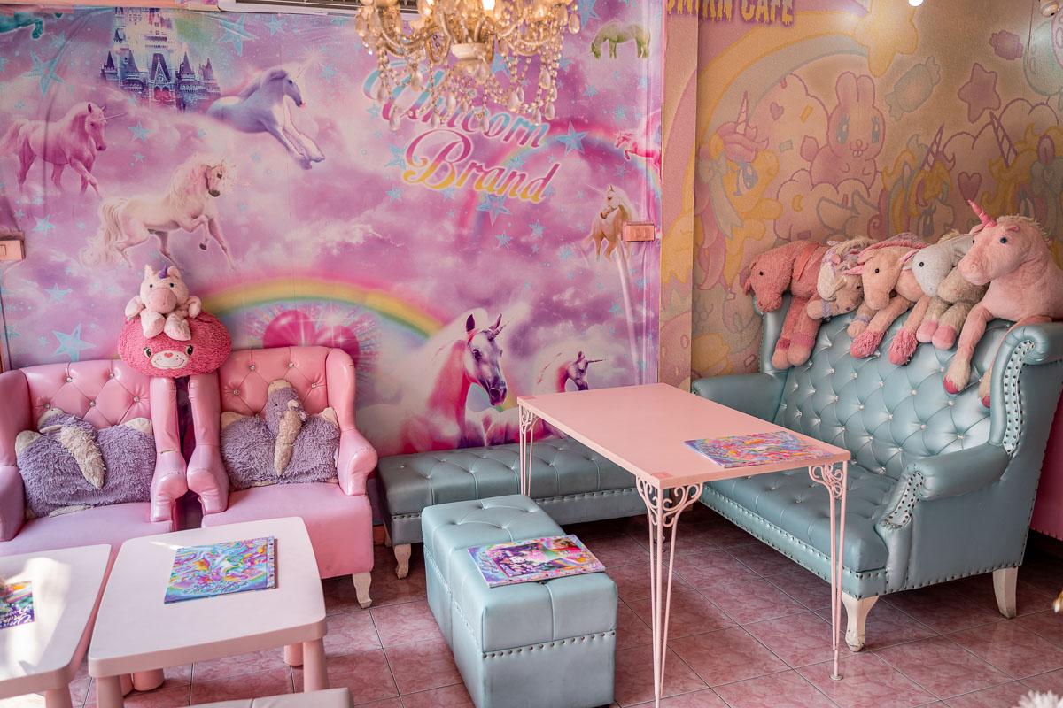Interior design of the Unicorn Cafe in Bangkok