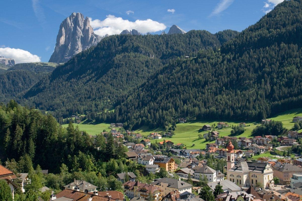 View of the town of Ortisei in Van Gardena, Italy