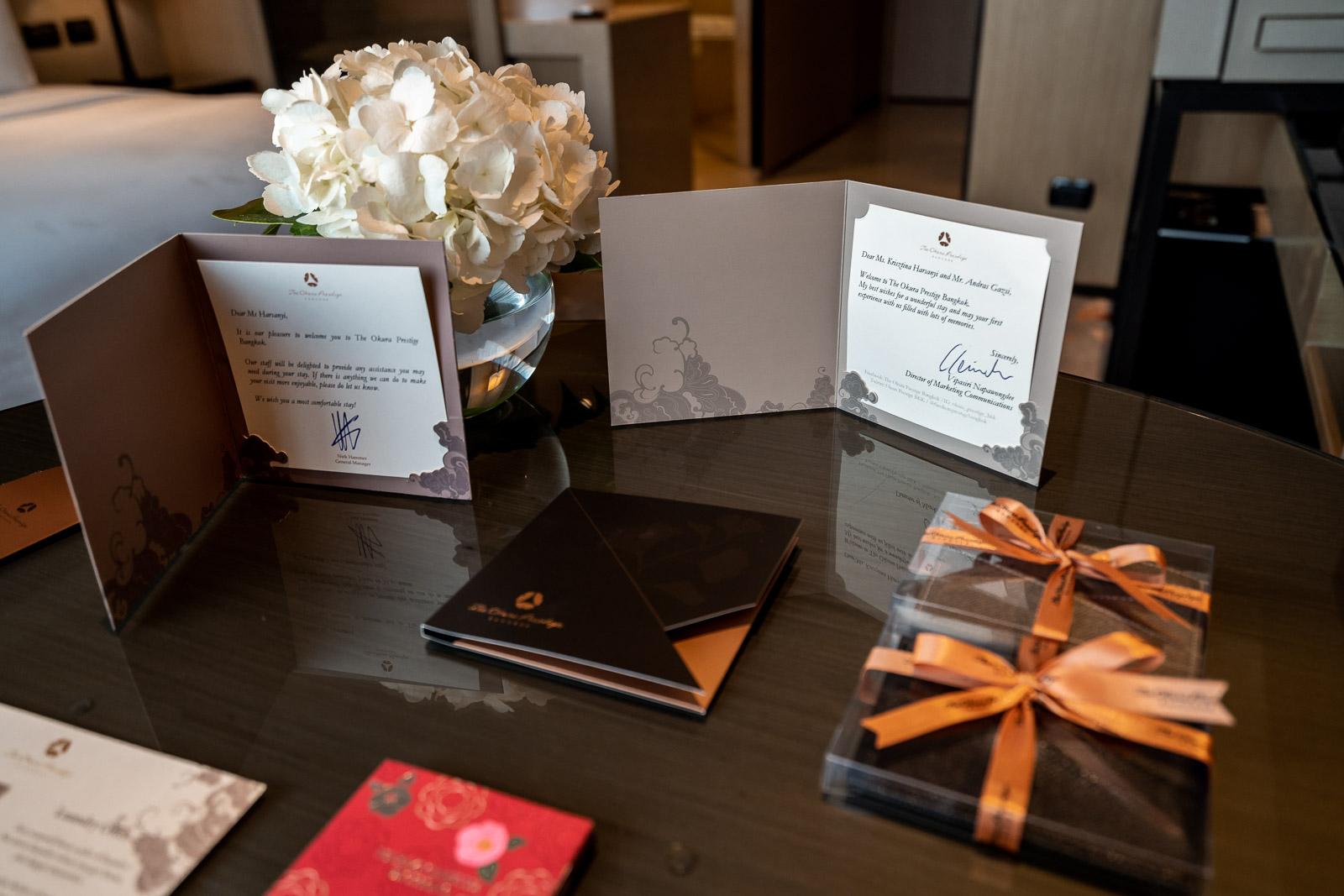 Welcome treats at The Okura Prestige Bangkok