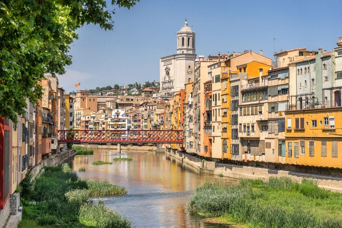 Medieval houses along the Onyar River in Girona, Spain