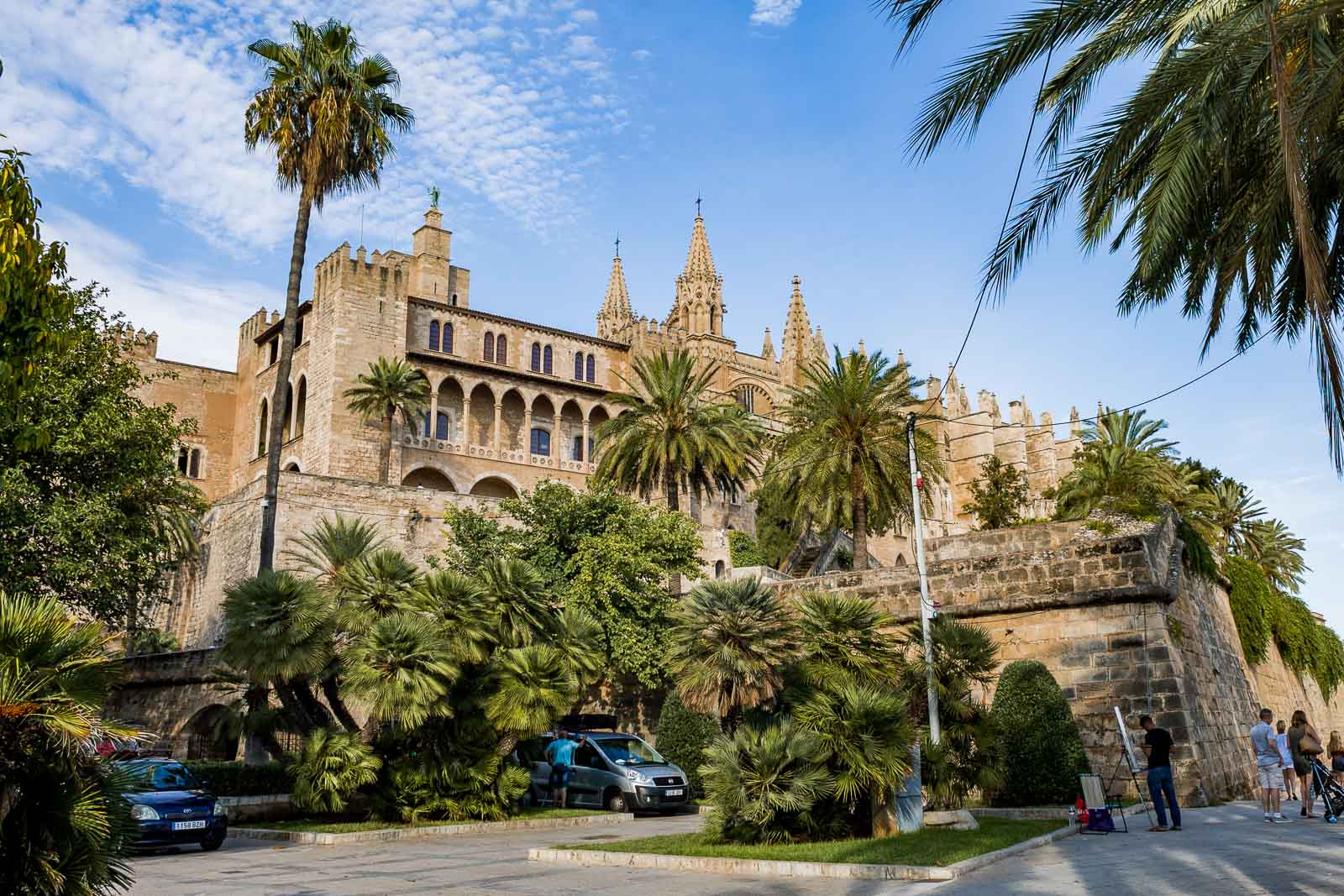 Cathedral and the royal palace in Palma de Mallorca