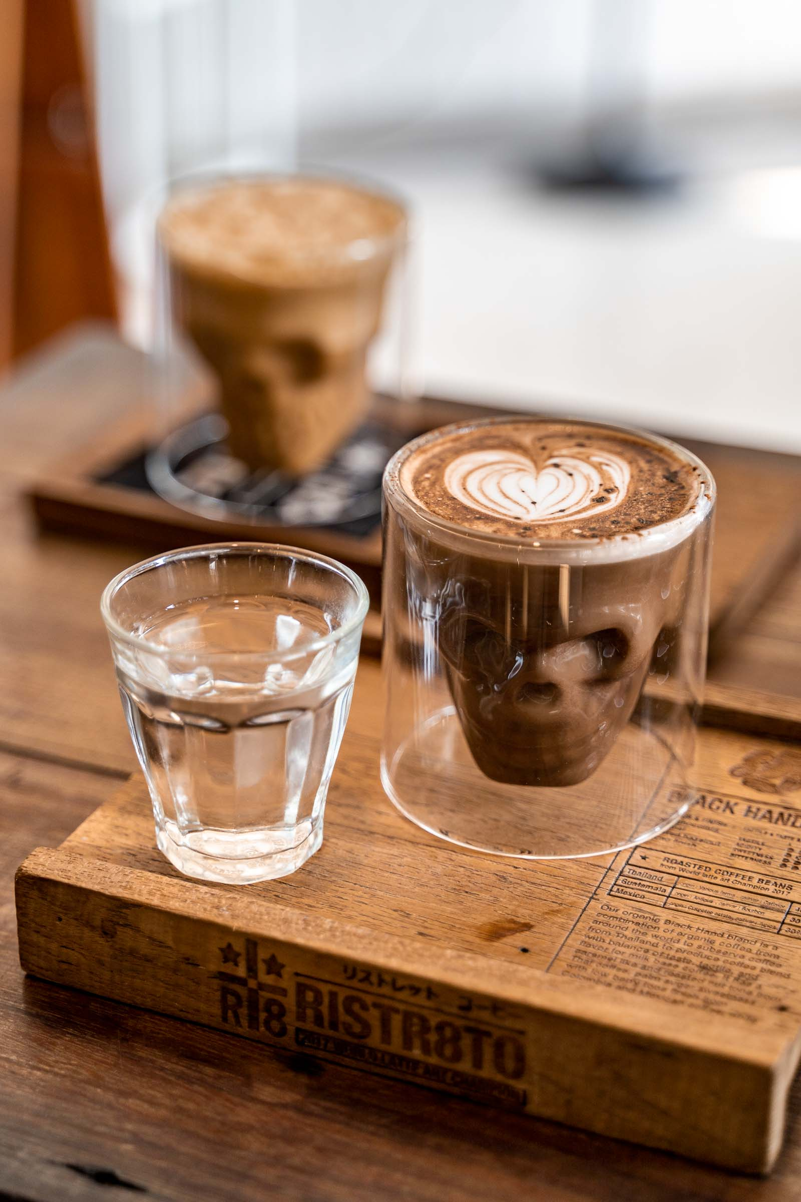 Coffee in a skull shaped glass at Ristr8to Specialty Coffee in Chiang Mai