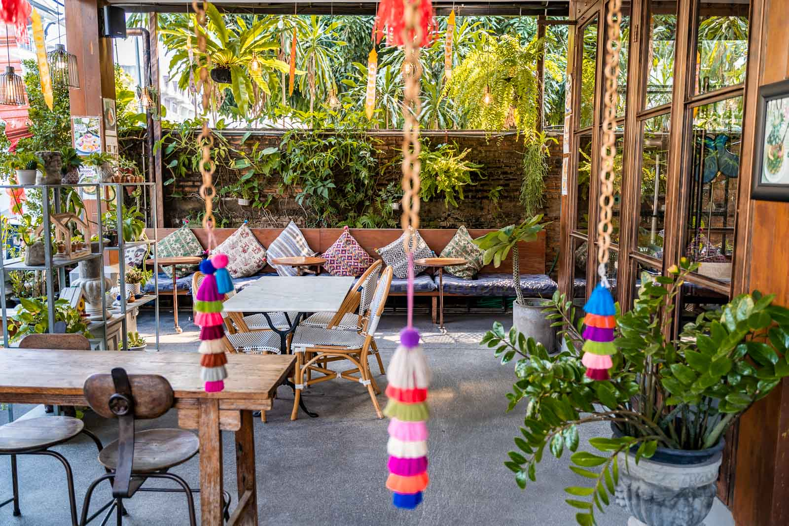 Beautiful green terrace at See You Soon Cafe in Chiang Mai