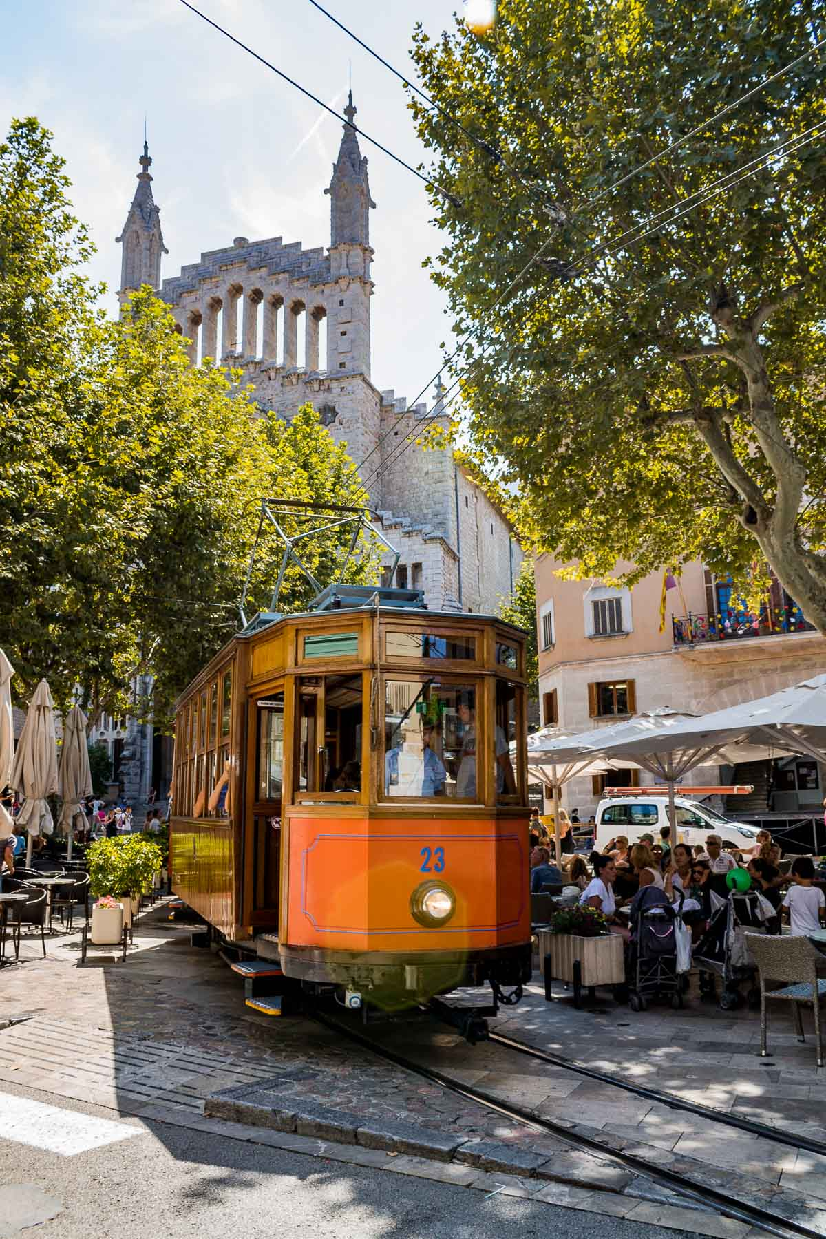Vintage tram in front of Soller Cathedral in Mallorca