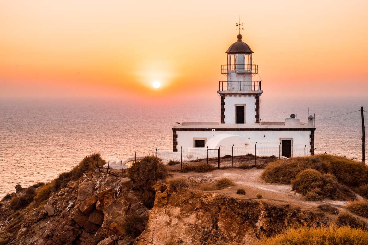 Sunset at the Akrotiri lighthouse in Santorini