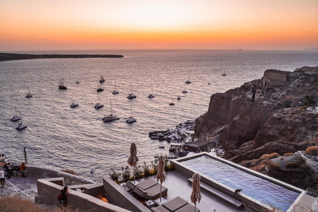 Boats on the sea at sunset in Oia, Santorini