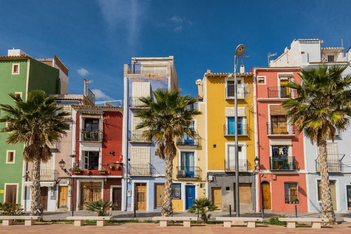 Traditional colorful facades in Villajoyosa, Spain