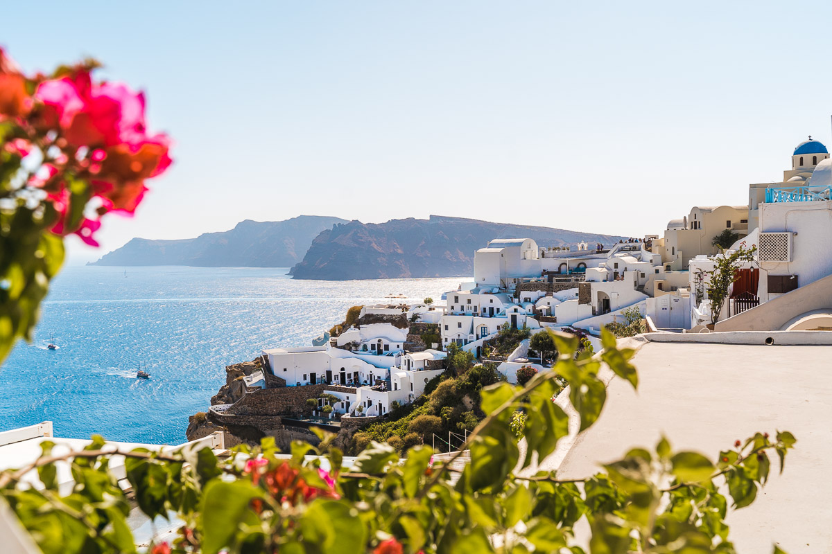 View of the town of Oia in Santorini
