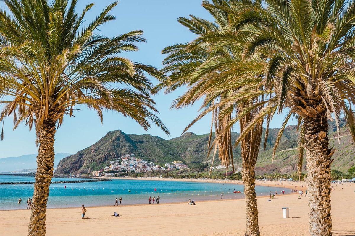 White sandy beach in Tenerife, Spain